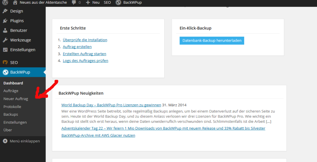 Wordpress Backup mit BackWPUp