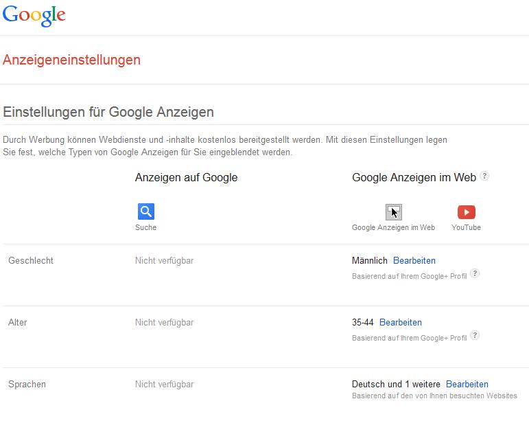 Google Anzeigeneinstellung